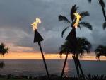 Hawaiian Tiki Torches evening dusk time at Waimea Maui Hawaii