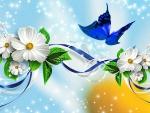 Blue Butterfly Ribbon