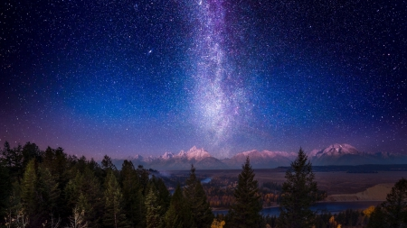 MILKY WAY OVER GRAND TETON - lakes, nocturnal, trees, starry night, galaxy, water, snow, universe, mountains, landscapes, firmament, forests