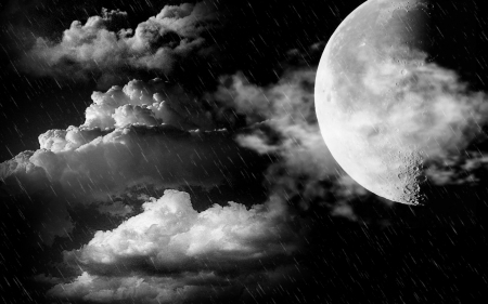 Full moon - moon, skyes, clouds, night
