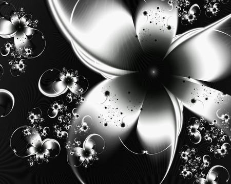 Floral fractal black n white