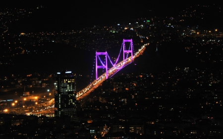 Bosphorus bridge - architecture, black, yellow, beautiful, lights, photography, city, purple, bridge, dark, evening, night