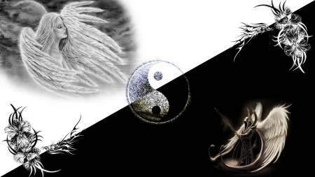Black & Withe - withe, yin yang, tribal, black, engel