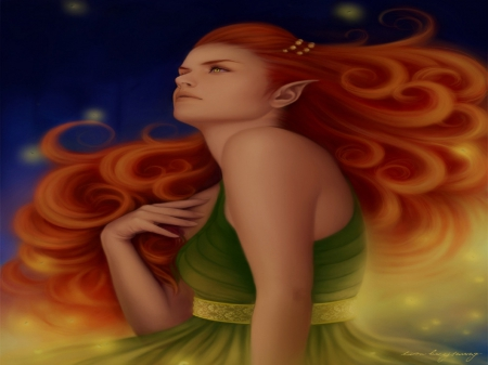 Attractive Fireflies - dress, glow, softness beauty, digital art, woman, women, paintings, beautiful girls, people, girls, drawings, model, firefly, redhair, portraits, fireflies, weird things people wear