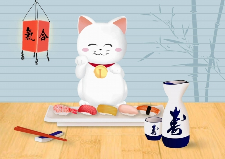 Maneki - lucky cat, pretty, hungry, sushi, adorable, sweet, nice, sake, lucky, delicious, lovely, food, kitty, cat, maneki, happy, cute, kawaii, oriental, luck, kitten, luck cat