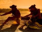 Hawaiian Dancers on Beach at Sunset Hawaii