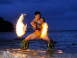 Hawaiian Fire Dancer in Sea