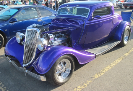 1934 Ford  3 windows coupe - Ford, photography, purple, headlights, engine, grills, tires