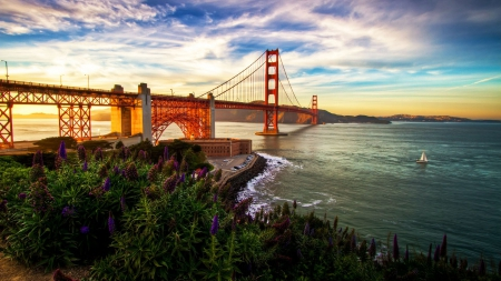 Golden Gate Bridge, San Francisco - USA, water, California, hdr, bay, sea