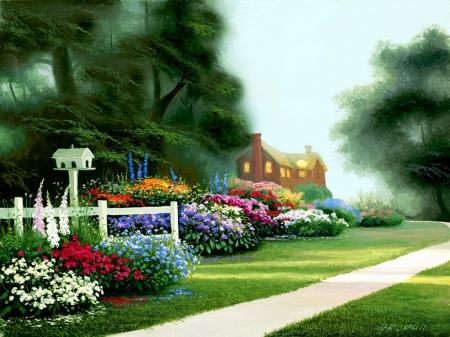 Garden walk - pretty, colorful, house, cottage, beautiful, nice, painting, path, flowers, art, spring, park, lvoely, freshness, alleys, summer, garden, walk