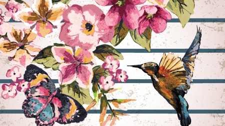 Hummingbird Butterfly Flowers Flowers Nature Background
