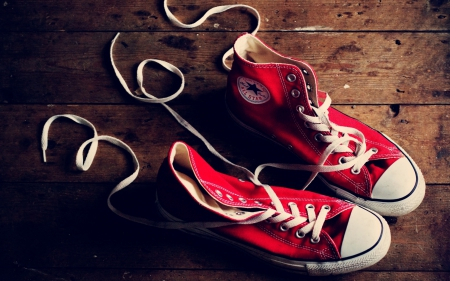 red_converse_sneakers - red, photography, converse, sneakers, wood, shoes
