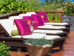 Loungers in a garden of a beautiful resort in Hilo Hawaii
