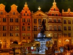 poseidon fountain in gdansk city square