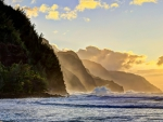 Kee Beach Sunset - Na Pali Coastline - North Coast - Kauai - Hawaii