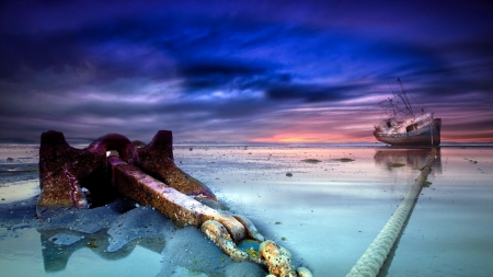 ship wreck with a set anchor - beach, chain, anchor, sunset, clouds, sea, ship wreck