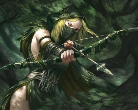 anime girl elf Wood