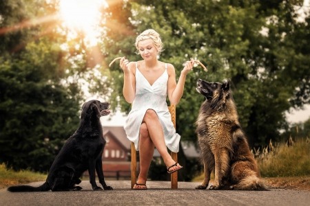 Women and dogs - Dogs & Animals Background Wallpapers on