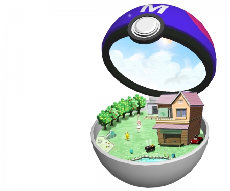 Master Ball - beauty, lovely, pokeball, sweet, simple, 3d, underwater, items, plain, hd, adorable, white, pretty, cloud, object, objects, beautiful, cute, cg, water, house, kawaii, realistic, fantasy, nice, pikachu, anime, pokemon, sky, item