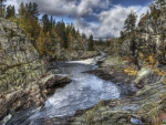 magnificent river gorge in tuddal norway hdr