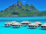 Aqua Blue Lagoon and Luxury Water Villas at Bora Bora Tropical Island Tahiti