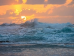 Sunset and Wave Break at Kee Beach Haena State Park Kauai Hawaii