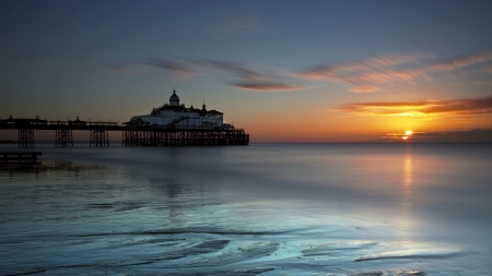 awesome massive sea pier at sunset - building, sunset, sea, pier
