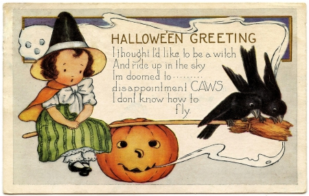 TINY WITCH GRPHICS - TINY, WITCH, HALLOWEEN, VINTAGE, CARD, OLD