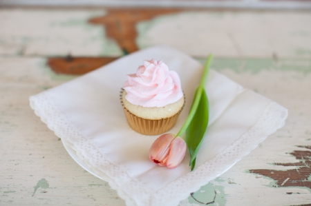For You - rustic, beautiful, napkin, sweet, cupcake, photography, flower, beauty, pink, tulip