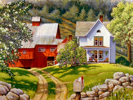 Valley Homestead - pretty, house, grass, cottage, homestead, home, beautiful, valley, countryside, mountain, nice, stones, painting, path, village, rural, art, rustic, quiet, calmness, lovely, spring, trees, freshness, serenity, slope, peaceful, blossoms, garden, nature, blooming