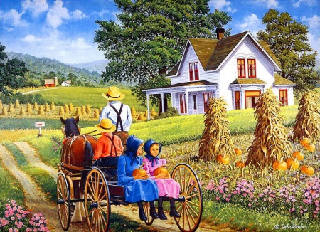 A perfect pair - pretty, house, children, cart, irls, father, countryside, nice, village, path, flowers, amish, kids, rural, art, rustic, lovely, sky, country, trees, eautiful, parent, garden, colorful, autumn, cottages, home, perfect, beautiful, picture, painting, girls, road, pair, spring, peaceful, summer, walk