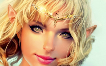 Blond elf - fantasy, blond, face, elf