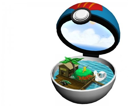 Lure Ball - pretty, item, house, object, hd, cg, objects, pokemon, beautiful, adorable, pikachu, sweet, ball, nice, boat, anime, beauty, realistic, fishing, cloud, lovely, items, sky, plain, cute, pokeball, kawaii, water, 3d, white