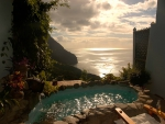 **Spectacular Sunset** over ocean and jacuzzi spa - St Lucia Caribbean