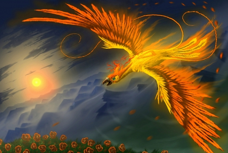 'Golden Phoenix' - fantasy arts, paintings animals, yellow, softness beauty, attractions in dreams, digital art, winged, fantasy, paintings, bright, flowers, drawings, feathers, flying bird, phoenix, golden, colors, project, sunshine