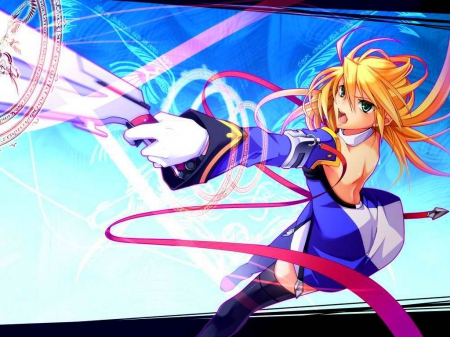 Noel - Blonde Hair, Blazblue, Anime, Blue Eyes, Cute, Game, sayo wini, Noel Vermillion, Girl, Long Hair, Original, Guns
