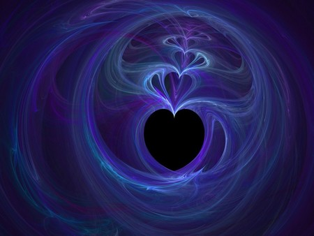 LOVE BLUES - heart, love, blues, blue, abstract, purple