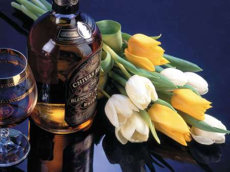 A Nice Combination to Make the Peace - scotch, drinks, liquor, peace, whiskey bottle, glass, chivas regal, flowers, tulips