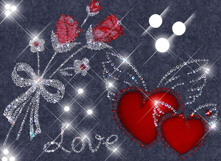 LOVE GLITTERS - hearts, love, glitters, diamonds
