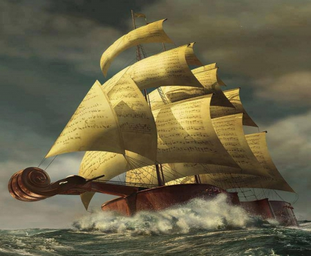 the music ship - violin, ship, music, sailing, sea