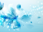 Aqua Flower Butterfly Abstract
