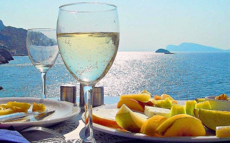 Breakfast on the Mediterraneon Sea - Sea, Peaches, Wine, Still Life