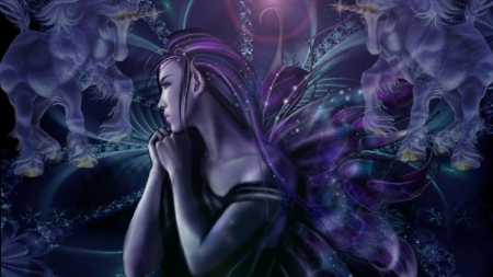 Purple unicorndreamer - fantasy unicorns, fantasy, fantasy fairies, 3d and cg