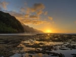 Kee Beach Sunset Na Pali Coast Kauai Hawaii
