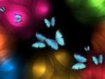 Blue Butterflies Glowing Bright