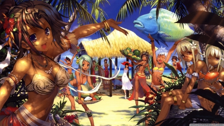 Beach party other anime background wallpapers on - Beach anime girl ...