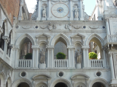 Courtyard of Doge's Palace - statues, courtyard, venice, white, palace
