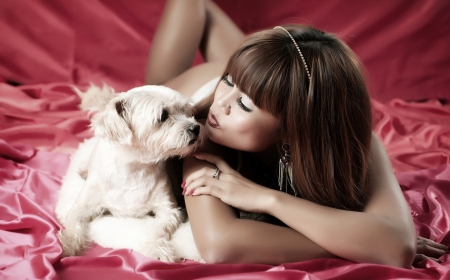 love you my friend - girl, animals, people, dog