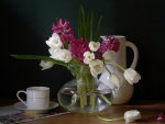 tea time and spring flowers