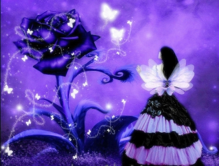 The Exotic Rose - pretty, fantasy girls, dress, rose, softness beauty, bow, digital art, hair, fantasy, beautiful girls, photomanipulation, fairy, exotic rose, wings, lovely, model, colors, love four seasons, creative pre-made, butterflies, purple, weird things people wear, backgrounds